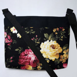 Crossbody bags by Grace, roses on black