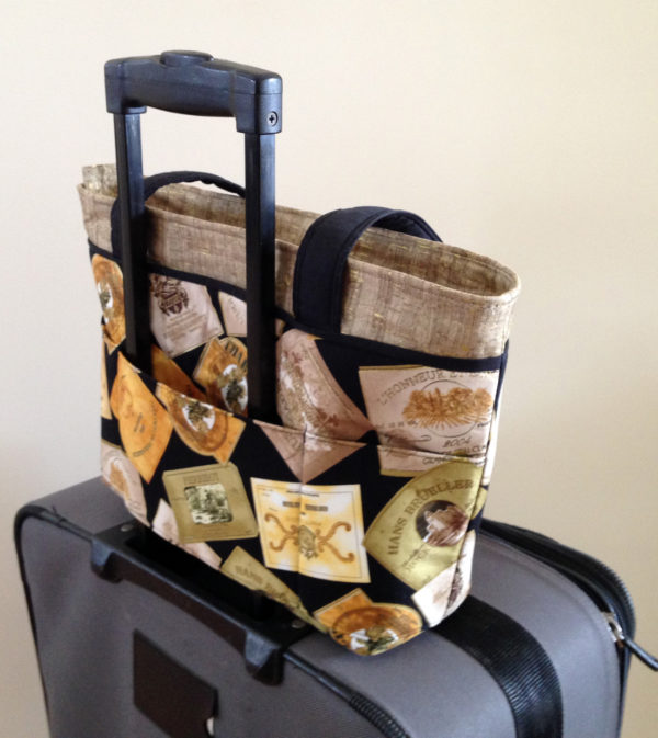 Wine Labels Bag on suitcase