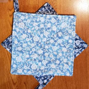 blue flower potholders