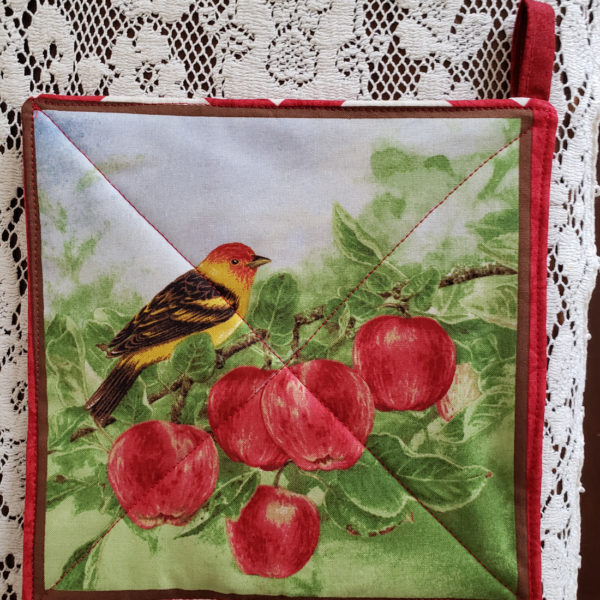 Potholder Oriole and Apples