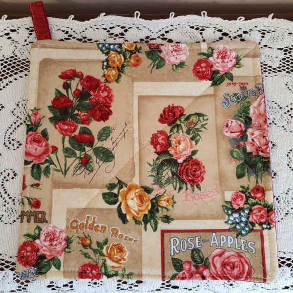 Potholders Rose p;rint with dark red back