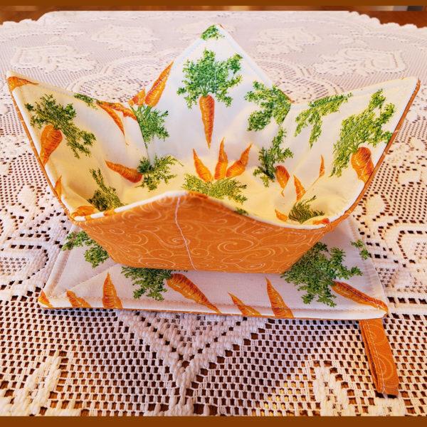 Microwave Bowl Cozy Set Carrots